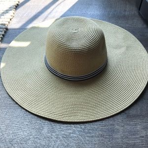 Jcrew factory cream floppy hat grosgrain ribbon